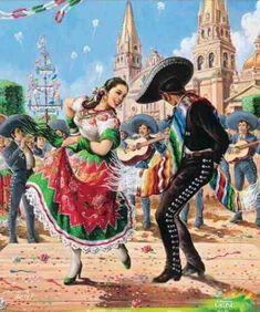 You mean, zapateado? Mexican Artwork, Mexican Paintings, Mexican Folk Art, Hispanic Art, Hispanic Culture, Jesus Helguera, Arte Latina, Latino Art, Mexican Heritage
