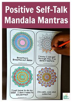 Mandala Mantras: Coping Skills For Test Anxiety Positive thinking and positive self talk are great coping skills to help kids of all ages overcome test anxiety. This positive self talk activity for kids helps children utilize mindfulness techniques to cal Coping Skills Activities, Activities For Teens, Counseling Activities, Mindfulness Activities, Art Therapy Activities, Play Therapy, Mindful Activities For Kids, Relaxation Activities, Personal Development