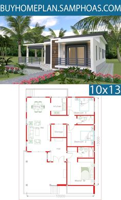In-law Unit! Sketchup Home Design Plan with 3 Bedrooms - Samphoas. Tiny House Cabin, Dream House Plans, Modern House Plans, Small House Plans, House Floor Plans, Simple House Design, Dream Home Design, Home Design Plans, House Layout Plans