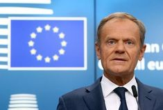 EU Council President Tusk addresses a news conference during an EU leaders summit in Brussels