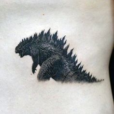 Detailed Shading Stylish Godzilla Tattoo For Man