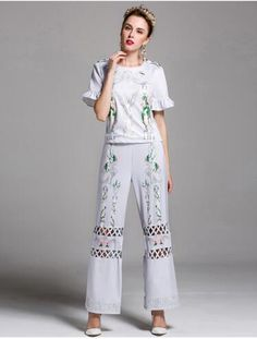 626821135a 2017 High Quality Fashion 2 Piece Outfits For Women Embroidery Tops Shirt  Short Sleeves + Luxury Brand Hollow Pants Women
