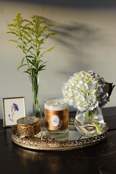 The gold label that adorns this candle helps add vintage texture to anywhere it sits