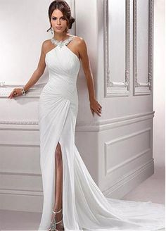 Stunning Chiffon & Satin Sheath Halter Necklkine Beaded Appliques Slit Wedding Dress