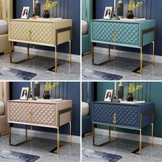 Modern Stylish Nightstand Upholstered Bedside Table with Drawer Gold Metal Base Nightstand in Muitiple Colors - Nightstands - Bedroom Furniture - Furniture Bedside Table Decor, Modern Bedside Table, Modern Bedroom Furniture, Home Decor Bedroom, Furniture Design, New Classic Furniture, Bedroom Night Stands, Apartment Interior, Luxurious Bedrooms