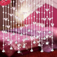Pink lucky finished products bead curtain butterfly curtain crystal bead curtain air curtain US $5.66