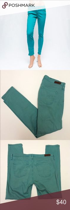 "AG The Stevie Teal Skinny Ankle Jeans AG ""The Stevie""  Slim straight ankle jeans  Teal color 8"" rise, 27"" inseam Size 29R  They are patched on the inside - see last photo - not visible from the exterior! Ag Adriano Goldschmied Jeans Ankle & Cropped"