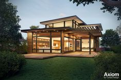 Turkel Design is a leading manufacturer of prefab homes. The firm has partnered with Dwell to develop the Axiom series, a modern prefab series of standard models designed to be functional, attractive, and energy-efficient.