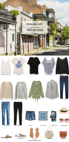 What to pack for the New Orleans Packing Light List What to pack for New Orleans What to pack for the summer Packing light Summer Packing Lists, Packing List For Travel, Weekend Packing List, Travel Tips, Cruise Packing, Packing Ideas, Capsule Wardrobe 2018, Travel Wardrobe, Vacation Wardrobe