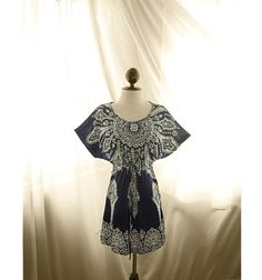Great Gatsby Fall Indie Navy Blue White Paisley by RiverOfRomansk, $43.85