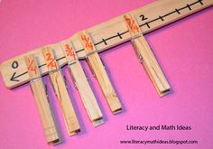 Common Core Number and Operations Fractions Activities. *Paint Stick Number Lines with Clothes Pins Labeled with Fractions. Physically putting fractions on the number line is a GREAT idea* Teaching Fractions, Math Fractions, Ordering Fractions, Dividing Fractions, Equivalent Fractions, Multiplication, Fraction Activities, Math Activities, Math Games