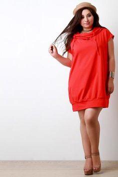 Closet red cowl neck faux pocket dress black