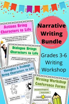 Using Writing Workshop, teach your students how to write strong narrative stories with this bundle pack. Students will learn how to revise stories to include action, thoughts, feelings, and dialogue in their writing, while maintaining organization as they write. #writingworkshop #elementaryteacher #iteach4th #iteach3rd #iteach5thgrade #fourthgradeteacher #fifthgradeteacher #thirdgradeteacher #languageartsteacher Reading Resources, Reading Strategies, Classroom Resources, Teacher Resources, Reading Comprehension, Paragraph Writing, Narrative Writing, Writing Workshop, Back To School Essentials