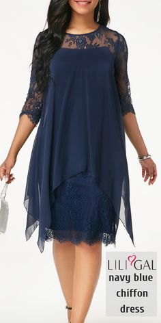 African style 367606388330262850 - Three Quarter Sleeve Navy Chiffon Overlay Lace Dress Source by liligalwomensfashion Mother Of Bride Outfits, Mother Of The Bride Gown, Mother Of Groom Dresses, Mothers Dresses, Mob Dresses, Trendy Dresses, Modest Dresses, Plus Size Dresses, Lace Dress With Sleeves