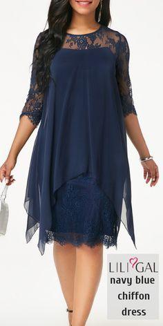 7a246b975c2 USD39.16 Three Quarter Sleeve Navy Chiffon Overlay Lace Dress  liligal   dresses Modest