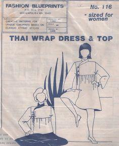MOMSPatterns Vintage Sewing Patterns - Fashion Blueprints 116 Vintage 90's Sewing Pattern Ethnic Thai Wrap Dress & Top, Nehru Collar, High Yoke with Ties, Flared Skirt