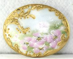 Antique Victorian Hand Painted Porcelain Stud Button