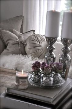 New living room, romantic bedroom decor, silver bedroom decor, bedroom cand Decoration Bedroom, Decoration Table, Silver Bedroom Decor, Bedroom Décor, Tray Decor, Table Centerpieces, Living Room Designs, Living Room Decor, Home Decoracion