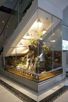 Paludarium unter einem Treppenaufgang oder unter Dachschrägen. Der Hoppe-Terrarienbau-Exclusiv löst jede noch so schwierige Terrarienbauform.