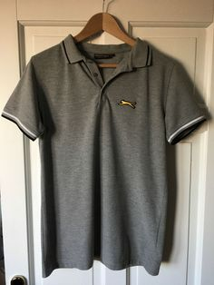 Men's Grey Slazenger Heritage Gold Slimfit Large Polo Shirt (fits like a small)