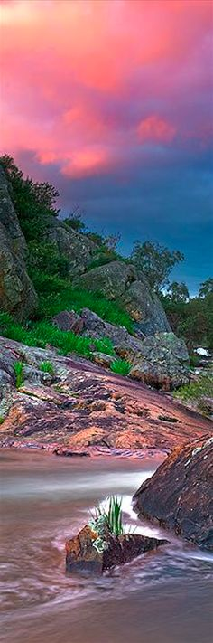 A vertical panorama of a cotton candy colored sunset at Serpentine falls in Western Australia-Kirk Hill photography Beautiful Sunset, Beautiful World, Beautiful Places, Amazing Places, Amazing Photography, Landscape Photography, Westerns, Pretty Pictures, Amazing Photos