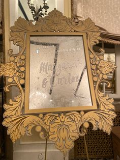 Custom Created Frame and PVC mirror to welcome your guests! Happy Wedding Day!
