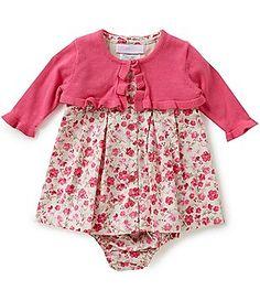 Bonnie Baby Girls Newborn-24 Months Floral Print Dress and Cardigan Set