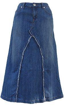 baccini denim skirt | Home Women's Skirts Five-Pocket-Fringe Long Denim Skirt