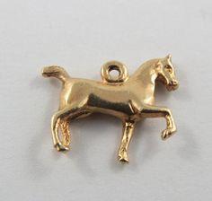 Horse 10K Gold Vintage Charm For Bracelet by SilverHillz on Etsy