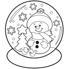 christmas snow globe whit snowman coloring pages for kidschristmas snow globe whit snowman coloring sheets printable for preschoolfree online christmas - Snowman Printable Coloring Pages