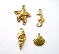 12 Pc Seaside Theme Raw Brass Charms / Seahorse, Starfish, Seashell, Scallop Shell