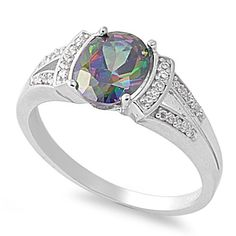 Round Mystic Simulated Topaz Cubic Zirconia Ring Sterling Silver Size 8 -- Continue to the product at the image link.