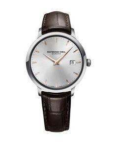 29e5c5dad28 Raymond Weil Toccata Brown Leather Strap Watch Classic Leather