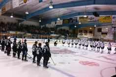 Teams Rawdon and Stirling get ready to face off in the celebrity hockey game, which included former NHL players Brad May, Rob Ray, Brad Marsh and Gary Leeman.