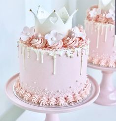 Image in Soft pastels collection by ℓυηα мι αηgєℓ ♡ Girly Birthday Cakes, Baby Girl Birthday Cake, Candy Birthday Cakes, Elegant Birthday Cakes, Beautiful Birthday Cakes, Birthday Cakes For Women, Princess Birthday Cakes, Birthday Cake Crown, Birthday Cake Designs