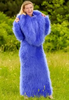 Blue Hand Knitted Mohair Sweater Fuzzy Dress and Pelerine Cape Supertanya s M L Fluffy Sweater, Mohair Sweater, Wool Sweaters, Cape Dress, Knit Dress, Sweater Dresses, Sweater Outfits, Gros Pull Mohair, Digital Foto