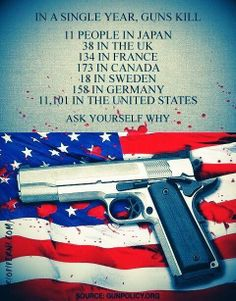 """The answer is not """"because America has more people"""". A simple lesson in statistics explains the adjustments made regarding the ratio of gun related deaths per capita. Too many criminals have guns and not enough law-abiding citizens do. Assault Weapon, Gun Rights, Gun Control, Social Issues, Way Of Life, About Uk, Something To Do, Things To Think About, How To Memorize Things"""