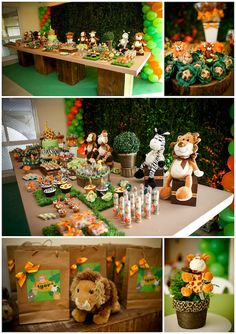 Madagascar Birthday Party Theme. So many ideas in this picture! The boxes the animals are perched on could be covered tissue boxes.
