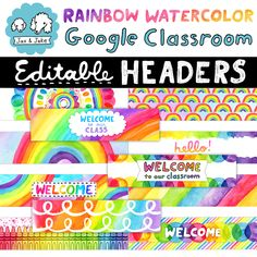 Make your Google Classroom colorful and bright with hand painted and drawn rainbow headers! #artteacher #rainbowclassroom #rainbowtheme  Classroom Welcome, Classroom Banner, Classroom Labels, Google Classroom, Grade My Teacher, Teacher Pay Teachers, Rainbow Clipart, Header Banner