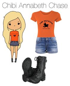 """Chibi Annabeth Chase"" by ana-diaz08 ❤ liked on Polyvore featuring moda"