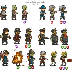 """hard mode with special zombies """"some are almost the same"""" - DeadAhead Weapon Concept Art, Game Concept Art, Animation Reference, Art Reference, How To Pixel Art, Character Art, Character Design, 8 Bits, Pixel Art Games"""