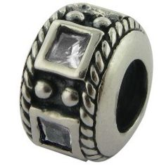 April Birthstone Clear - Silver Carlo Biagi bead - Be Charmed Jewellery £10.99