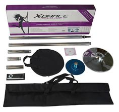 X-Dance 45mm Spinning Static Portable Chrome Pole Dance for Exercise Fitness with Carrying Case