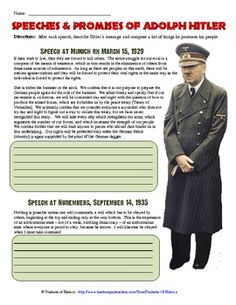 This simple worksheet includes two small excerpts from speeches Adolf Hitler gave early on in his role as Chancellor. In both he describes in bold . 6th Grade Social Studies, Social Studies Classroom, History Classroom, Teaching Social Studies, History Teachers, Teaching History, History Lesson Plans, World History Lessons, Study History