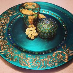 Green & Gold Mehndi Plate Set/Henna Plate For Weddings #greenandgold #mehndi