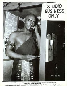 """Yul Brynner while filming """"The Ten Commandments"""""""