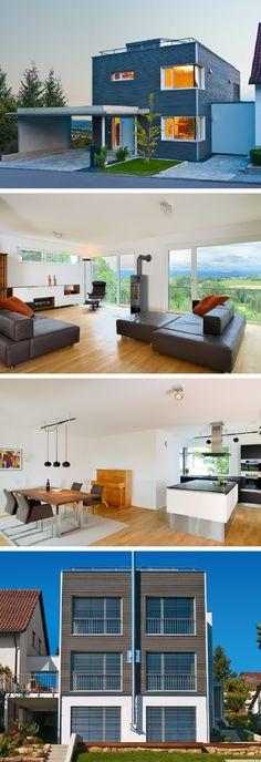 Einfamilienhaus In Hanglage Mit Flachdach Architektur Und Holzfassade    Design Haus Wiesenhütter Baufritz Fertighaus
