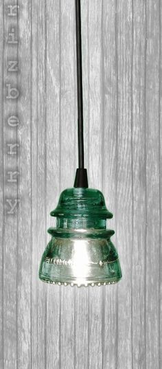 Repurposed Glass Insulator Pendant Light with Black Canopy and Cord