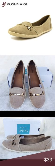 Call It Spring Cunoarda Loafer in Natural Brand new with box. Goregous color and perfect for fall season. Easy to slip on with adorable gold tone hardware. The cover photo is not the real color. Please check the rest of the photos for actual color of the shoes. Call It Spring Shoes Flats & Loafers
