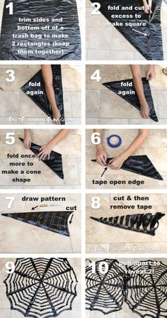 DIY Trash Bag Spiderwebs- These look awesome in a window! So easy and cheap… - Diy Halloween Diy Deco Halloween, Deco Haloween, Casa Halloween, Halloween Tags, Halloween Birthday, Holidays Halloween, Halloween Crafts, Happy Halloween, Halloween Costumes